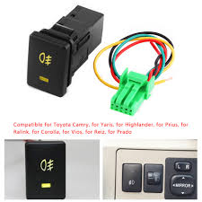 Us 3 93 21 Off 4 Wire Car Foglight Control Switch Fog Light Lamp On Off Button For Toyota Toyota Camry Yaris Highlander Prius Corolla Dc 12v In Car