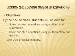 lesson 2 2 solving one step equations