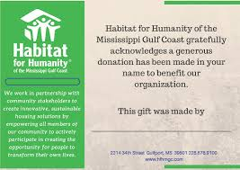 Gift Certificate Sign Donation Gift Certificates Habitat For Humanity Of The Mississippi