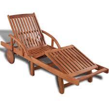 Garden Patio Chaise Lounger Sun Bed Chair Wooden Folding Reclining