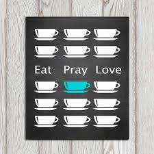 Teal Bedrooms Decorating Eat Pray Love Etsy Printable Turquoise Kitchen Wall Art Poster