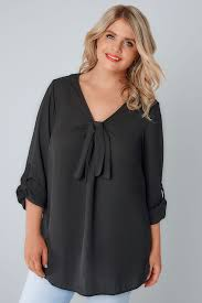 Black Pussy Bow Blouse Plus size 16 to 32