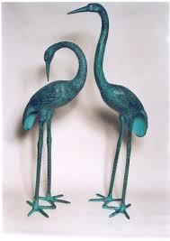 garden decor birds aluminium crane