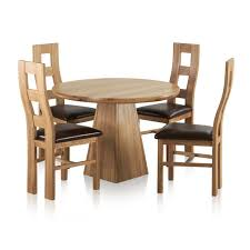 provence natural solid oak dining set 3ft 7 round table with 4 wave back