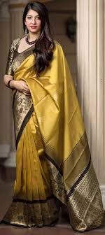 1545234 traditional yellow color banarasi silk silk fabric saree