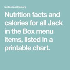 Nutrition Facts And Calories For All Jack In The Box Menu