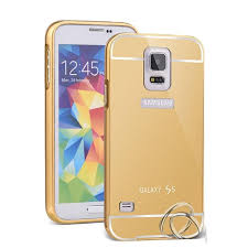 samsung galaxy s5 gold. casing metal bumper mirror for samsung galaxy s5 - gold | lazada indonesia s