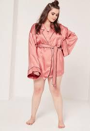 plus size silk robe seidiger plus size morgenmantel im kimono style mit paspelierungen