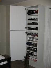 interior: Simple And Minimalist Designed Wooden Ikea Shoe Closet Ideas  Which Is Painted In White