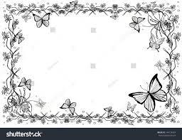 Card Frame Background Butterfly Flower Garden Stock Illustration