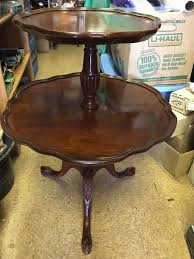 antique vintage round mersman mahogany wood 2 tier pie table claw feet side end