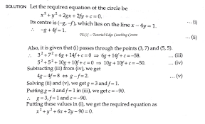 find the equation of the circle whose center lies on the line x 4y 1 and which passes through the points 3 7 and 5 5