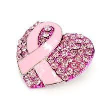 <b>Rhinestone</b> Heart <b>Pink Ribbon Brooch</b> Get... - Breast Cancer ...