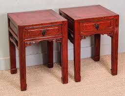 pair of chinese red lacquer end tables circa  at stdibs