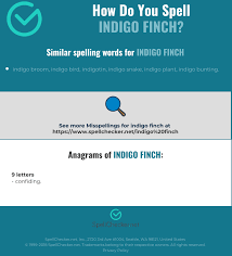 Phonetic alphabet for international communication where it is sometimes important to provide correct information. Correct Spelling For Indigo Finch Infographic Spellchecker Net