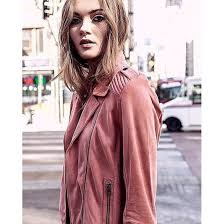 jacket as by df leather leather jacket pink blush rose gold pink leather jacket chic streetstyle