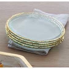 Annie Glass Edgy Salad Plate in Gold   8GLAG1258   Lux Bond & Green