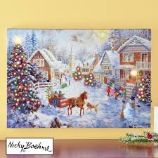 Lighted Christmas Artwork Merry Christmas Village Lighted Canvas Wall Art