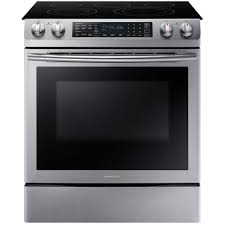 samsung 5 8 cu ft slide in electric range with self cleaning dual