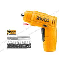 Máy bắn vít cầm tay INGCO CSDLI0402 kèm 10 mũi siết vít 25mm, 1 mũi từ, 1  cục sạc. Máy siết vít mini dùng pin Lithium 4V - Máy vặn vít