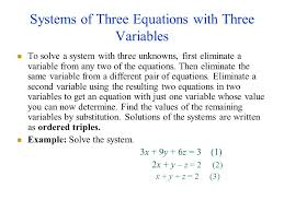 systems of three equations with three variables