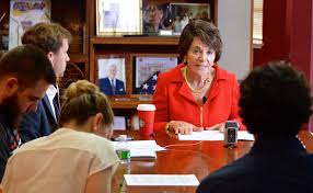 congresswoman anna eshoo addresses peninsula press reporters during a roundtable discussion at her palo alto office