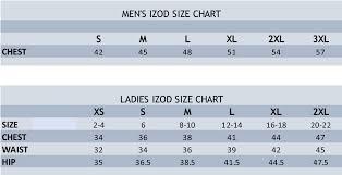 Shirt Size Chart Izod Size Chart Stitch Logo Brand Uniforms