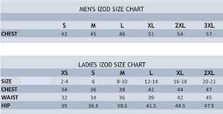 Izod Size Chart Stitch Logo Brand Uniforms