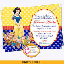 Birthday Invatations Snow White Invitation Snow White Birthday Party Invitation Snow White Seven Dwarfs Invite
