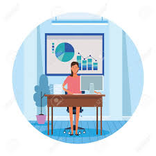 Worker Woman In Computer Desk With Data Chart And Papers Vector