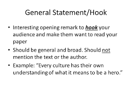 how to write an essay ms mitchell freshman literature ppt  general statement hook interesting opening remark to hook your audience and make them want to