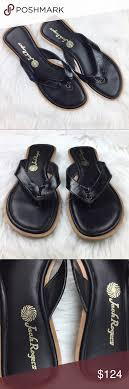 Jack Rogers Black Heeled Thong Sandals Flip Flops Jack