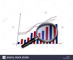 Magnifying Glass On Bar Chart Stock Photos Magnifying