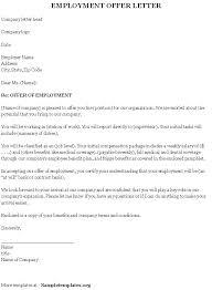 Job Offer Letter Template Word Offer Of Employment Letter Template Free Rome Fontanacountryinn Com