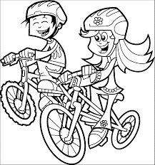 Color the video characters by kids learning tube! Bike Riding Coloring Page Coloring Home