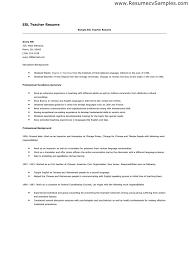 Esl Teaching Resume Best Resume