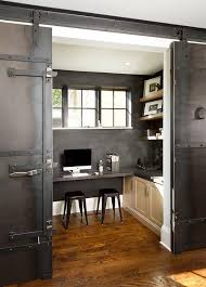 Image Wood Industrial Home Office With Metal Barn Doors On Rails Decorpad Industrial Home Office With Metal Barn Doors On Rails Transitional