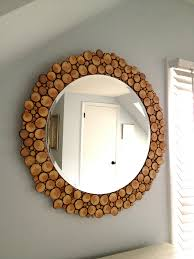 3 sliced of twigs and branches beautifying a round mirror