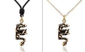 dragon chinese handmade sterling silver gold brass necklace