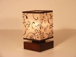 lombardia table lamp one light brown wenge square wood base and fl fabric lamp shade