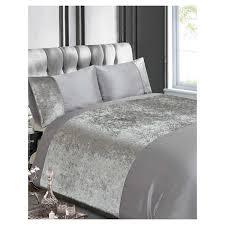 crushed velvet silver double duvet cover set