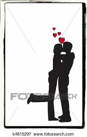 Kissing Couple Stock Illustration