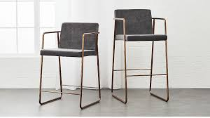 rouka grey upholstered bar stools cb2 with leather plans 1