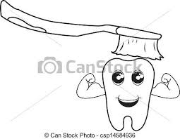 brushing teeth drawing. Perfect Brushing Brushing Teeth Outline Vector With Drawing Can Stock Photo