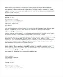School Letters Templates Letters Of Recommendation Templates Business School Letter