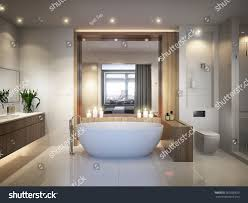 spacious all white bathroom. Spacious And Bright Modern Bathroom With White Tile, Large Mirror, Bathtub Shower Cabin All