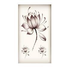 Black Waterproof Lotus Flower Stickers Women Lotus Flower Tattoo Temporary Tattoo Stickers Temporary Body Art Waterproof