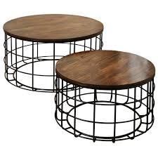 stylecraft round wood nested chinese cherry wood top black powder coat frame coffee tables set
