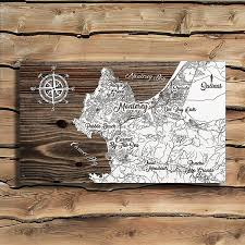 monterey california wooden map burnt