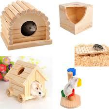 details about wooden house villa cage exercise toys for hamster hedgehog mouse rat guinea pig